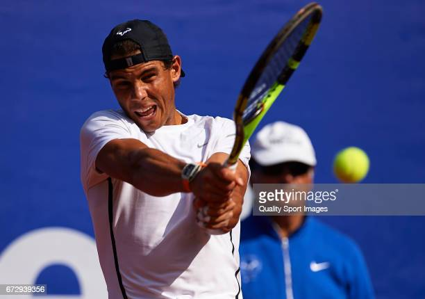 Rafael Nadal of Spain as he trains during the Day 2 of the Barcelona Open Banc Sabadell at the Real Club de Tenis Barcelona on April 25 2017 in...