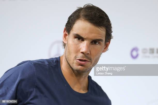 Rafael Nadal of Spain attends a press conference after losing the Men's singles final mach against Roger Federer of Switzerland on day eight of 2017...