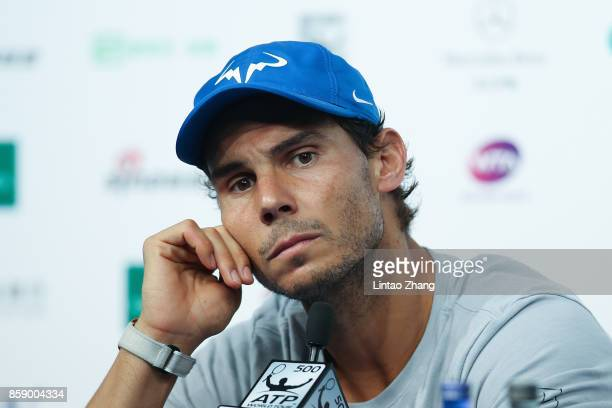 Rafael Nadal of Spain attends a press conference after winning the Men's Singles final against Nick Kyrgios of Australia on day nine of the 2017...