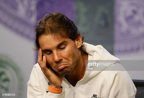 Rafael Nadal of Spain attends a press conference during day four of the Wimbledon Lawn Tennis Championships at the All England Lawn Tennis and...
