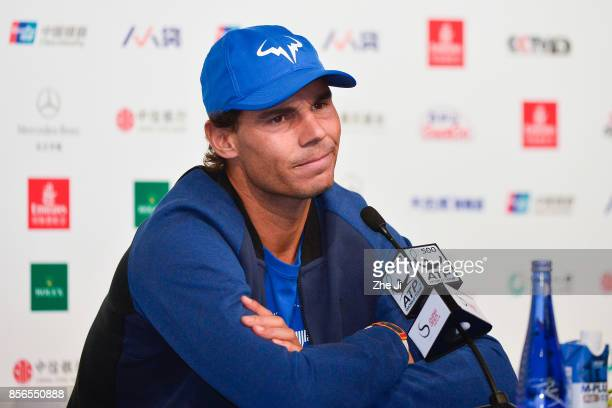 Rafael Nadal of Spain attends a press conference during the day three of 2017 China Open at the China National Tennis Centre on October 2 2017 in...