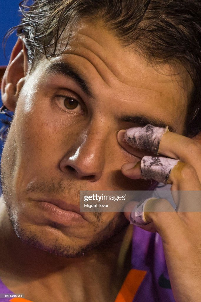 Rafael Nadal of Spain attends the final tennis match against David Ferrer of Spain as part of the Mexican Tennis Open Acapulco 2013 at Pacific resort on March 02, 2013 in Acapulco, Mexico.