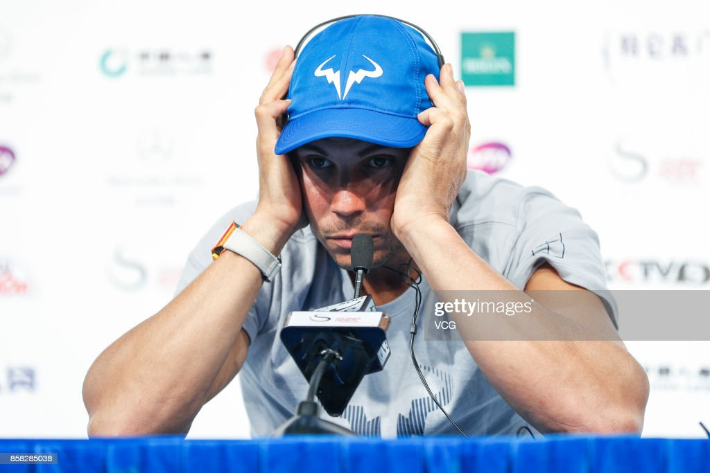 Rafael Nadal of Spain attends the press conference after winning the Men's singles quarter-final match against John Isner of the US on day seven of the 2017 China Open on October 6, 2017 in Beijing, China.