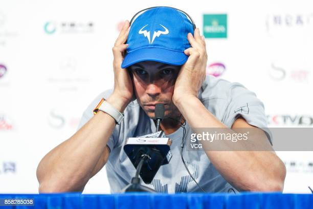 Rafael Nadal of Spain attends the press conference after winning the Men's singles quarterfinal match against John Isner of the US on day seven of...