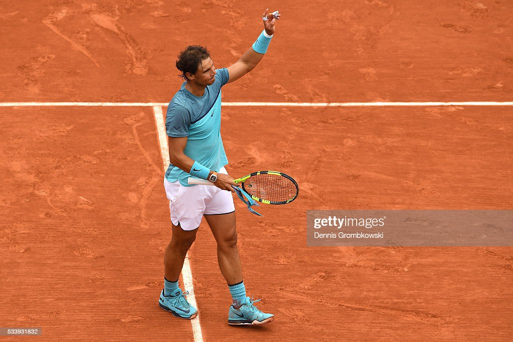 Rafael Nadal of Spain celbrates following his victory during the Men's Singles first round match against Sam Groth of Australia on day three of the 2016 French Open at Roland Garros on May 24, 2016 in Paris, France.