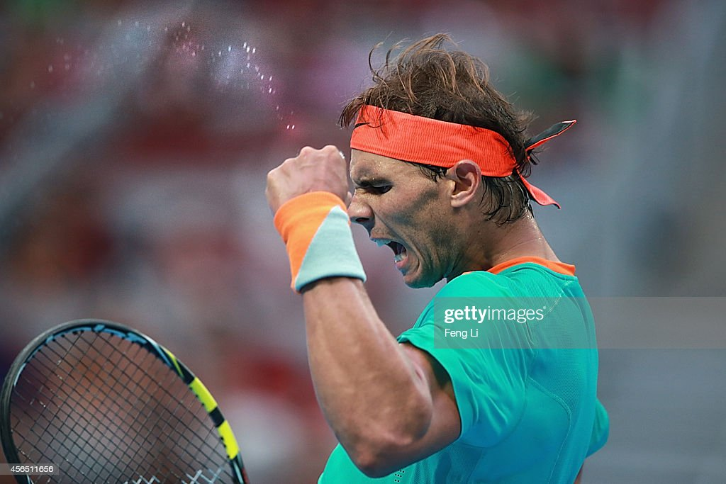 Rafael Nadal of Spain celebrates a ball against Peter Gojowczyk of Germany during day six of the China Open at the China National Tennis Center on...