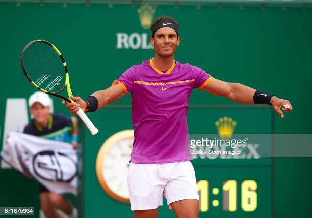 Rafael Nadal of Spain celebrates a match point against Albert RamosVinolas of Spain in the final during day eight of the ATP Monte Carlo Rolex...