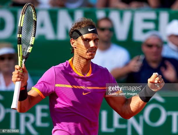 Rafael Nadal of Spain celebrates a match point against David Goffin of Belgium in the men's singles semifinal match on day seven of the ATP Monte...