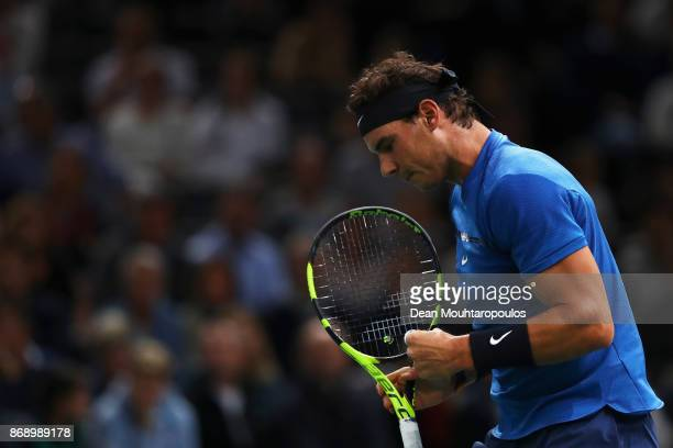 Rafael Nadal of Spain celebrates a point against Chung Hyeon of South Korea during Day 3 of the Rolex Paris Masters held at the AccorHotels Arena on...