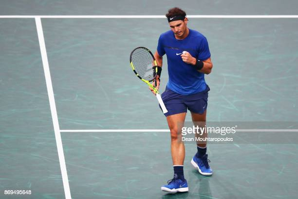 Rafael Nadal of Spain celebrates a point against Pablo Cuevas of Uraguay during Day 4 of the Rolex Paris Masters held at the AccorHotels Arena on...