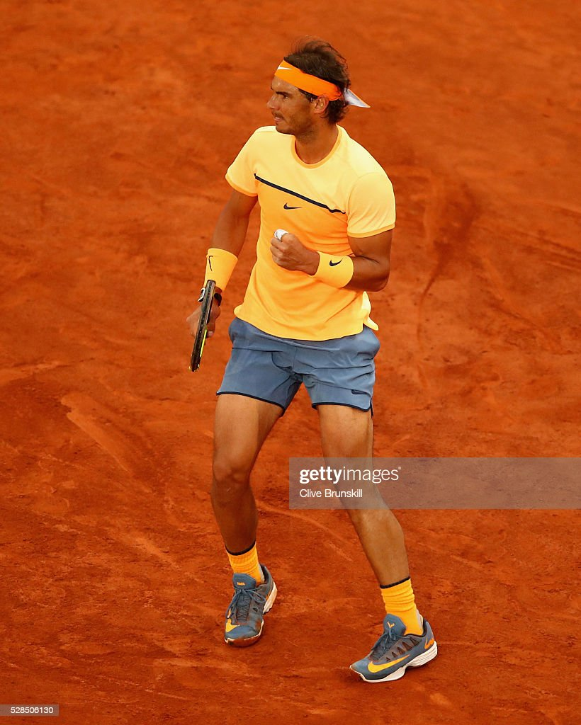 Rafael Nadal of Spain celebrates a point against Sam Querrey of the United States in their third round match during day six of the Mutua Madrid Open tennis tournament at the Caja Magica on May 05, 2016 in Madrid,Spain