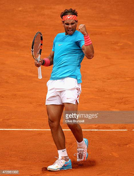 Rafael Nadal of Spain celebrates a point against Steve Johnson of the United Staes in their second round match during day five of the Mutua Madrid...
