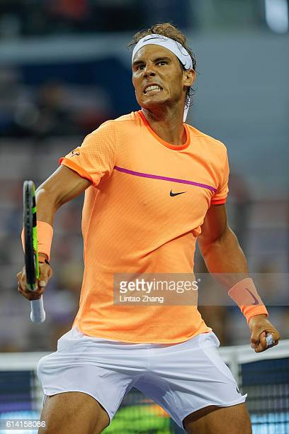 Rafael Nadal of Spain celebrates a point against Viktor Troicki of Serbia during the Men's singles second round match on day four of Shanghai Rolex...