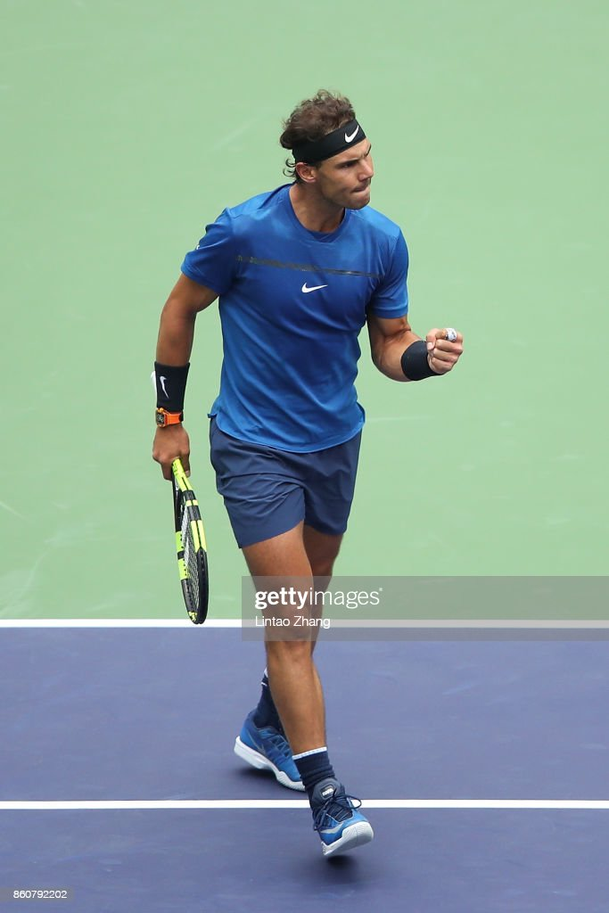 Rafael Nadal of Spain celebrates a point during Men's singles quarter final mach against Grigor Dimitrov of Bulgaria on day six of 2017 ATP Shanghai Rolex Masters at Qizhong Stadium on October 13, 2017 in Shanghai, China.