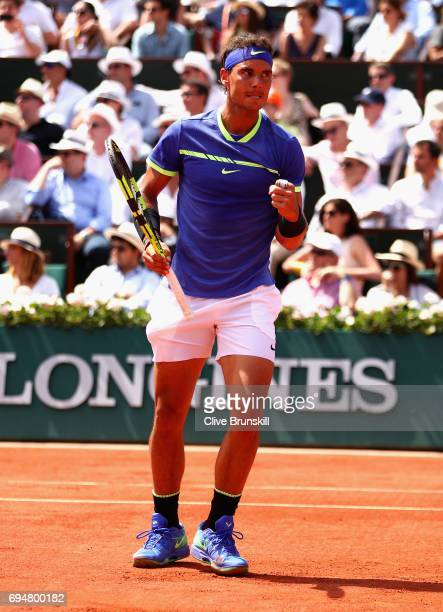Rafael Nadal of Spain celebrates a point during the mens singles final match against Stan Wawrinka of Switzerland on day fifteen of the 2017 French...
