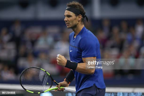 Rafael Nadal of Spain celebrates a point during the Men's singles Semifinal mach against Marin Cilic of Croatia on day seven of 2017 ATP Shanghai...