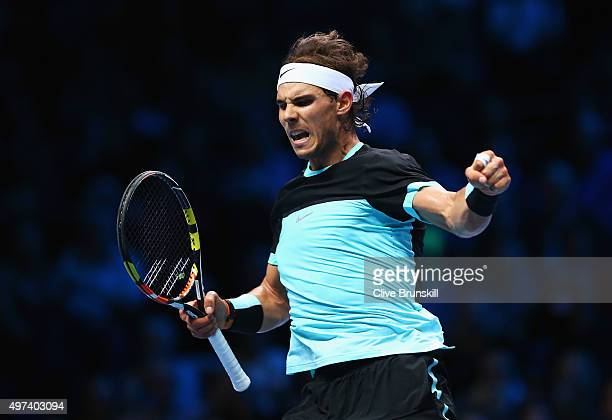 Rafael Nadal of Spain celebrates a point in his men's singles match against Stanislas Wawrinka of Switzerland during day two of the Barclays ATP...