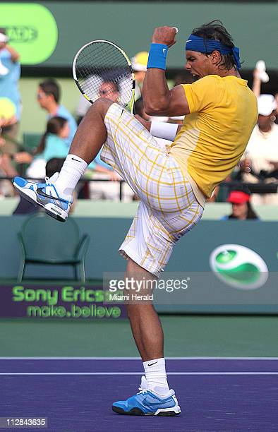 Rafael Nadal of Spain celebrates after defeating David Ferrer of Spain during the Sony Ericsson Open in Key Biscayne Florida on Tuesday March 30 2010