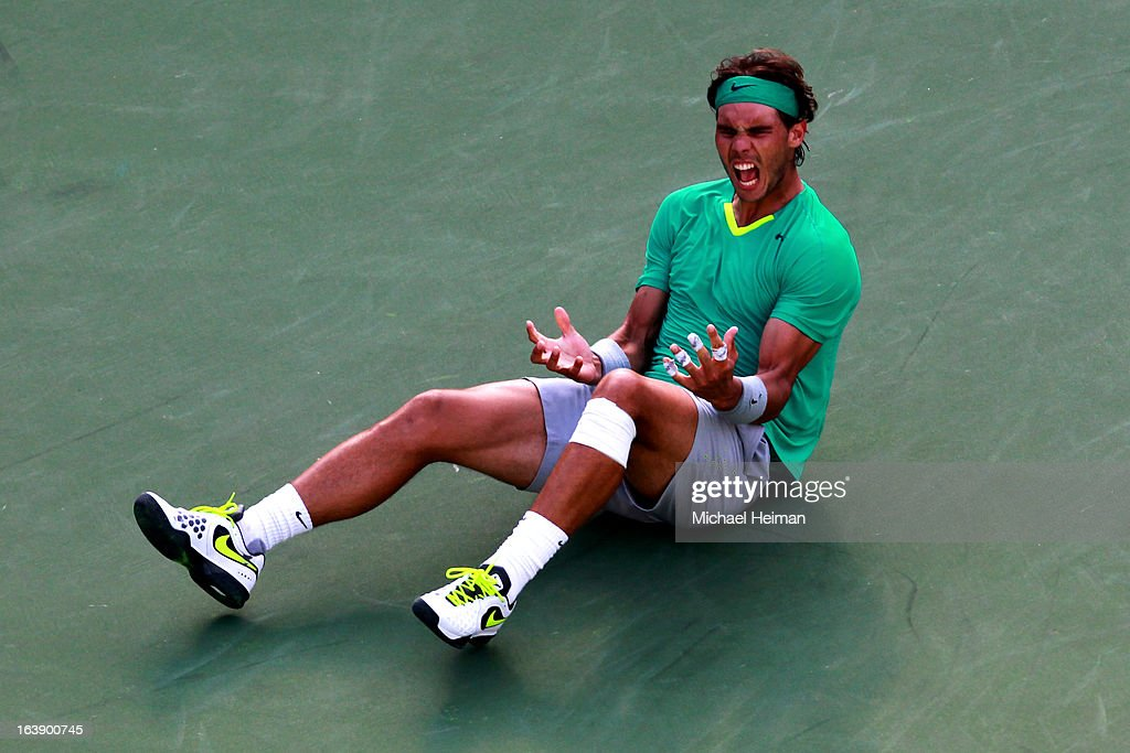 Rafael Nadal of Spain celebrates after defeating Juan Martin Del Potro of Argentina to win the men's final match of the 2013 BNP Paribas Open at the Indian Wells Tennis Garden on March 17, 2013 in Indian Wells, California.