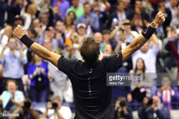 Rafael Nadal of Spain celebrates after defeating Juan Martin del Potro of Argentina in their Men's Singles Semifinal match on Day Twelve of the 2017...