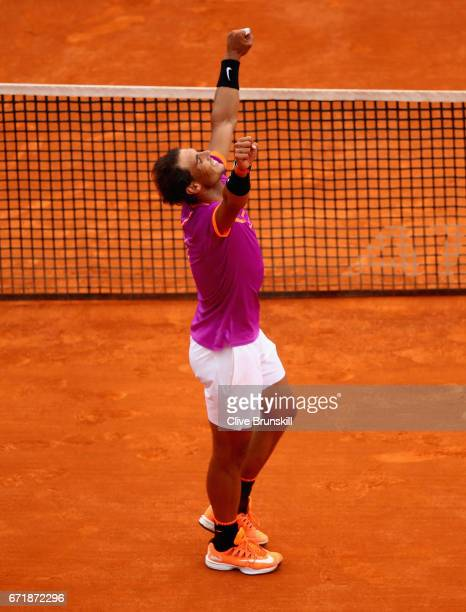 Rafael Nadal of Spain celebrates after his straight set victory against Albert RamosVinolas of Spain in the final on day eight of the Monte Carlo...