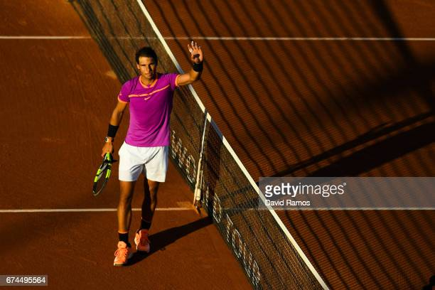 Rafael Nadal of Spain celebrates after his victory against Hyeon Chung of South Korea on day five of the Barcelona Open Banc Sabadells in the...
