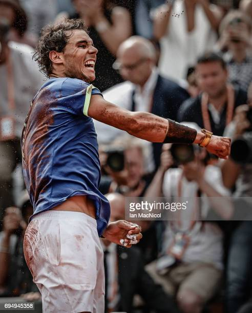 Rafael Nadal of Spain celebrates after victory during his match against Stan Wawrinka of Switzerland during the Men's Singles Final on day fifthteen...