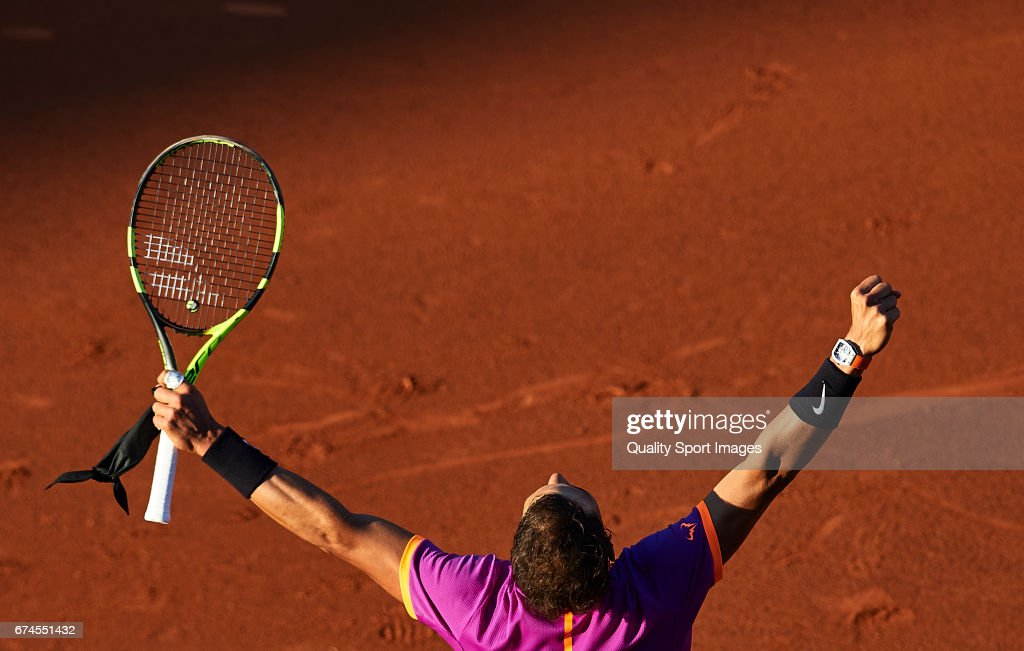 Rafael Nadal of Spain celebrates after winning his match against Hyeon Chung of South Korea during the Day 5 of the Barcelona Open Banc Sabadell at the Real Club de Tenis Barcelona on April 28, 2017 in Barcelona, Spain.