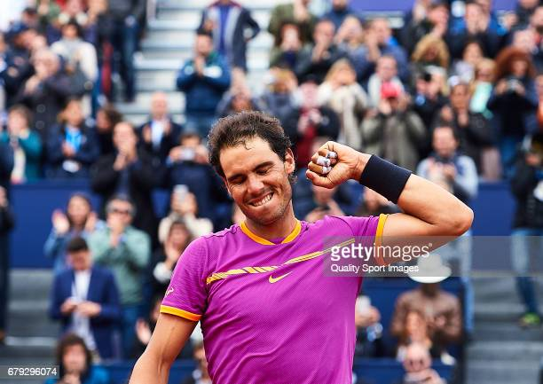 Rafael Nadal of Spain celebrates after winning his match against Dominic Thiem of Austria during the Day 6 of the Barcelona Open Banc Sabadell at the...