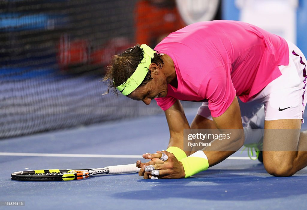 Rafael Nadal of Spain celebrates after winning match point in his second round match against Tim Smyczek of the United States during day three of the 2015 Australian Open at Melbourne Park on January 21, 2015 in Melbourne, Australia.