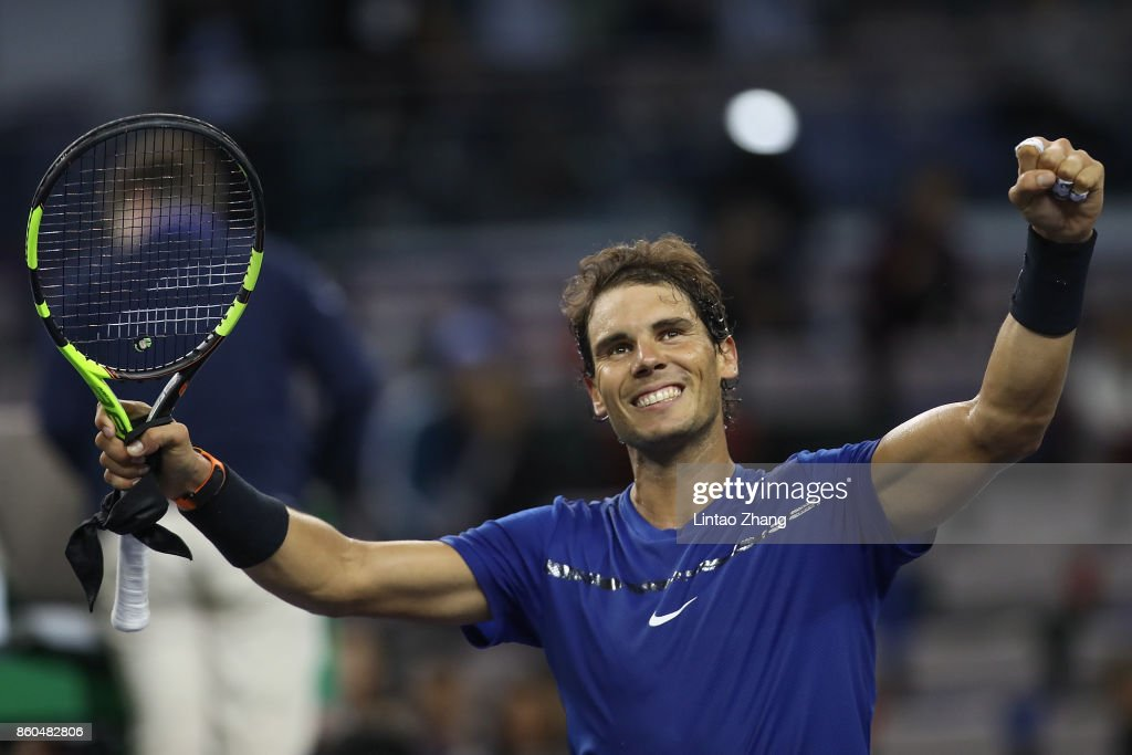 Rafael Nadal of Spain celebrates after winning the Men's singles mach third round against Fabio Fognini of Italy on day five of 2017 ATP Shanghai Rolex Masters at Qizhong Stadium on October 12, 2017 in Shanghai, China.