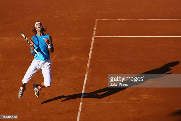 Rafael Nadal of Spain celebrates at match point in the final against David Ferrer of Spain during the Open Sabadell Atlantico Barcelona 2008 Tennis...