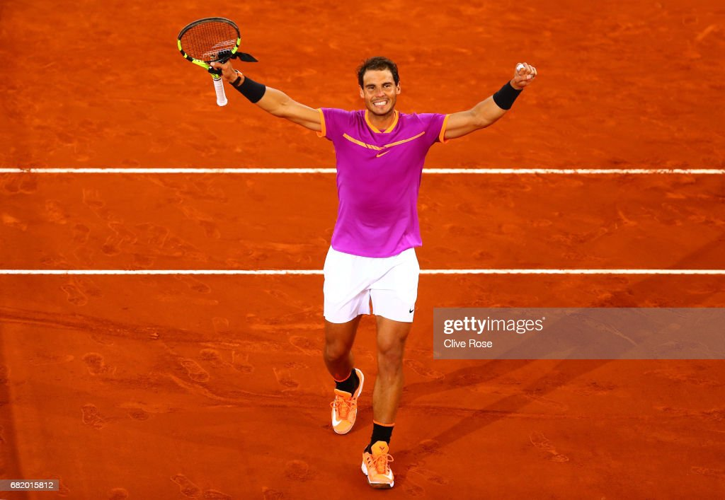 Rafael Nadal of Spain celebrates beating Nick Kyrgios of Australia on day six of the Mutua Madrid Open tennis at La Caja Magica on May 11, 2017 in Madrid, Spain.