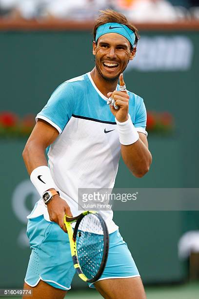 Rafael Nadal of Spain celebrates defeating Alexander Zverev of Germany in three sets during day ten of the BNP Paribas Open at Indian Wells Tennis...