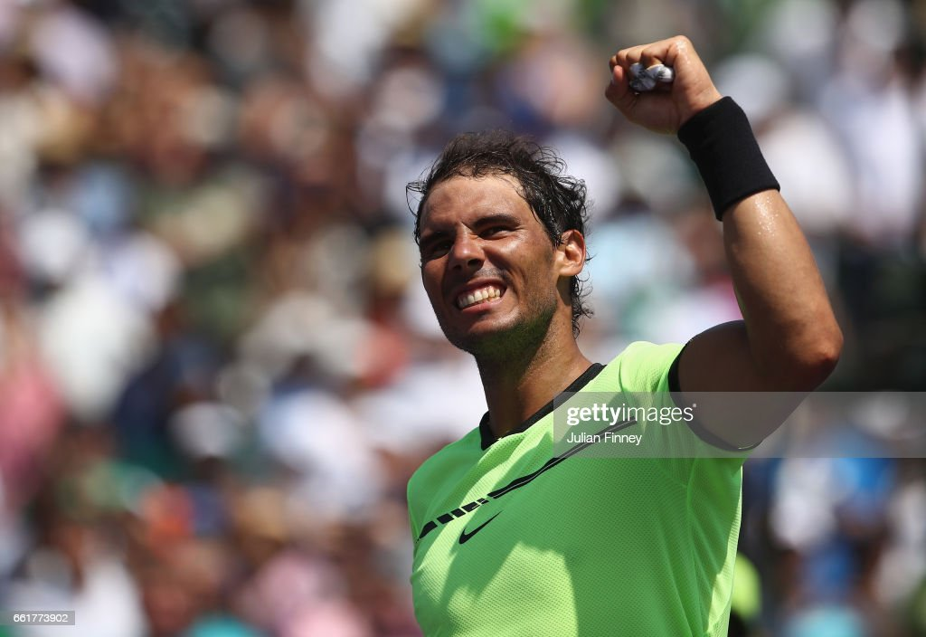 Rafael Nadal of Spain celebrates defeating Fabio Fognini of Italy in the semi finals at Crandon Park Tennis Center on March 31, 2017 in Key Biscayne, Florida.