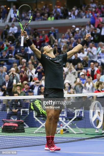 Rafael Nadal of Spain celebrates defeating Kevin Anderson of South Africa during their Men's Singles Finals match on Day Fourteen of the 2017 US Open...