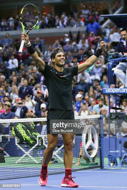 Rafael Nadal of Spain celebrates defeating Kevin Anderson of South Africa after their Men's Singles Finals match on Day Fourteen of the 2017 US Open...