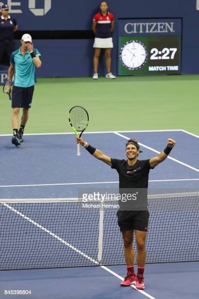 Rafael Nadal of Spain celebrates defeating Kevin Anderson of South Africa in their Men's Singles Finals match on Day Fourteen of the 2017 US Open at...