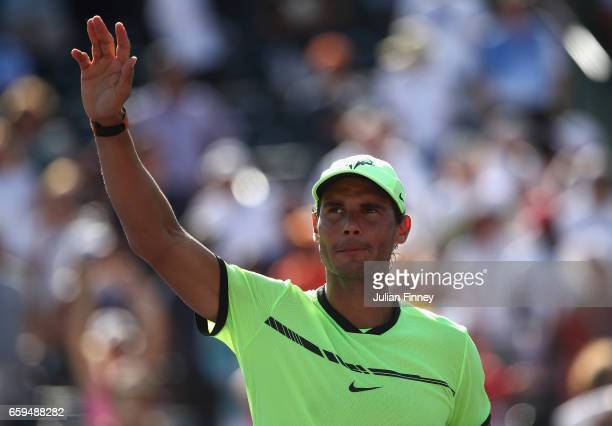 Rafael Nadal of Spain celebrates defeating Nicolas Mahut of France at Crandon Park Tennis Center on March 28 2017 in Key Biscayne Florida