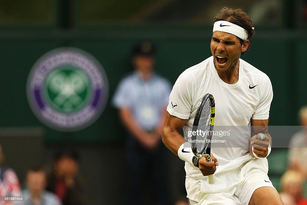 Rafael Nadal of Spain celebrates during his Gentlemen's Singles third round match against Mikhail Kukushkin of Kazakhstan on day six of the Wimbledon...
