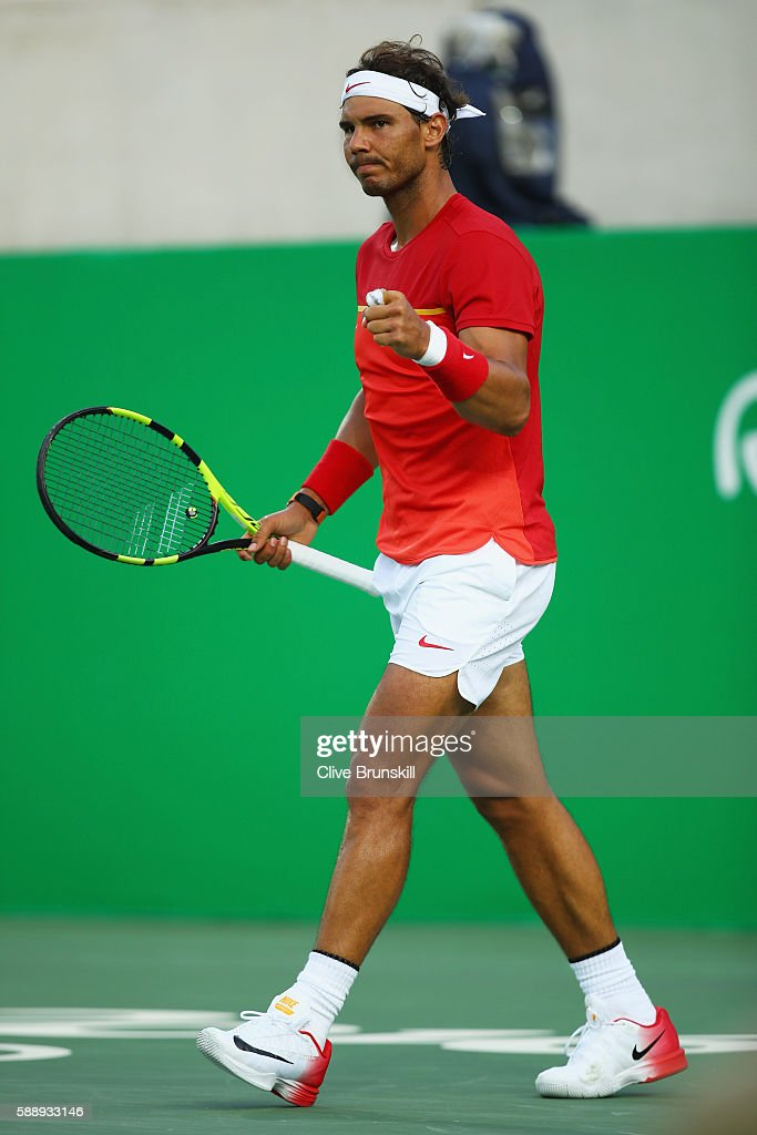 Rafael Nadal of Spain celebrates during the match against Thomaz Bellucci of Brazil in the Men's Singles Quarterfinal on Day 7 of the Rio 2016 Olympic Games at the Olympic Tennis Centre on August 12, 2016 in Rio de Janeiro, Brazil.