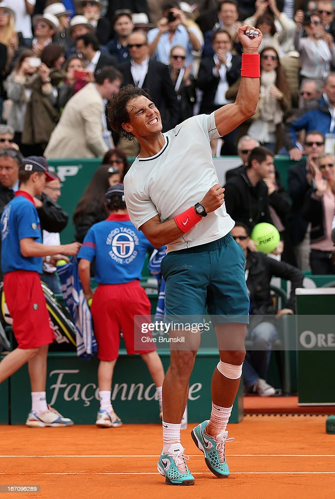 <a gi-track='captionPersonalityLinkClicked' href=/galleries/search?phrase=Rafael+Nadal&family=editorial&specificpeople=194996 ng-click='$event.stopPropagation()'>Rafael Nadal</a> of Spain celebrates his straight sets victory against Jo-Wilfried Tsonga of France in their semi final match during day seven of the ATP Monte Carlo Masters,at Monte-Carlo Sporting Club on April 20, 2013 in Monte-Carlo, Monaco.