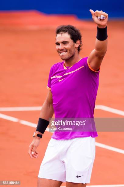 Rafael Nadal of Spain celebrates his victory against Dominic Thiem of Austria in their final match on day seven of the Barcelona Open Banc Sabadell...