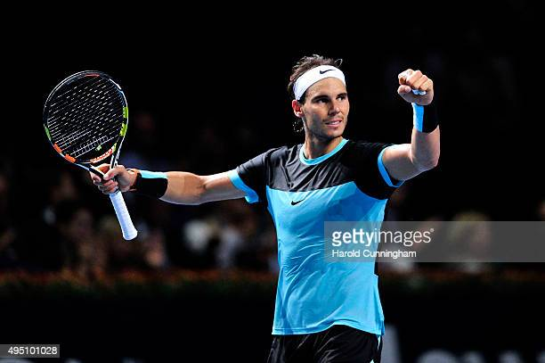 Rafael Nadal of Spain celebrates his victory during the sixth day of the Swiss Indoors ATP 500 tennis tournament against Richard Gasquet of France at...