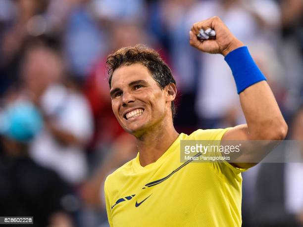 Rafael Nadal of Spain celebrates his victory over Borna Coric of Croatia during day six of the Rogers Cup presented by National Bank at Uniprix...