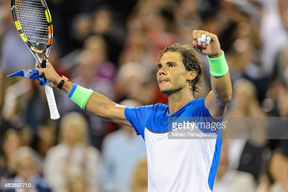 Rafael Nadal of Spain celebrates his victory over Mikhail Youzhny of Russia during day four of the Rogers Cup at Uniprix Stadium on August 13 2015 in...