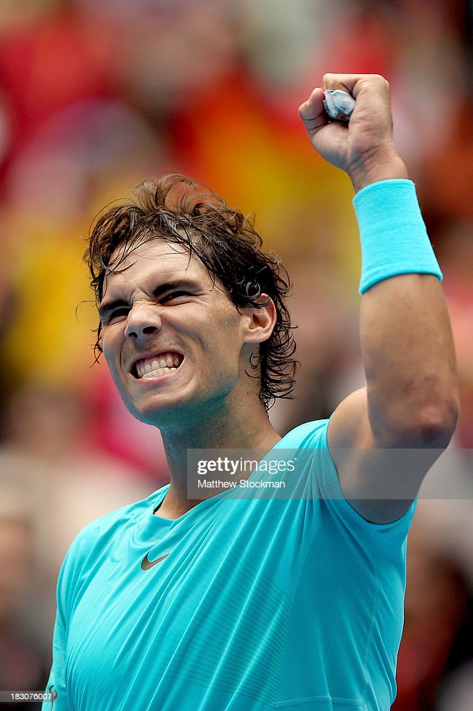 Rafael Nadal of Spain celebrates his win over Fabio Fognini of Italy during day seven of the 2013 China Open at the National Tennis Center on October 4, 2013 in Beijing, China.