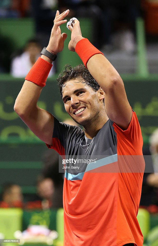 Rafael Nadal of Spain celebrates his win over Gael Monfils of France after beating him in 3 sets in the final of the Qatar ExxonMobil Open 2014 held...
