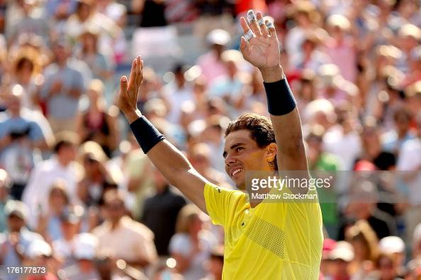 Rafael Nadal of Spain celebrates his win over Milos Raonic of Canada during the final of the Rogers Cup at Uniprix Stadium on August 11 2013 in...