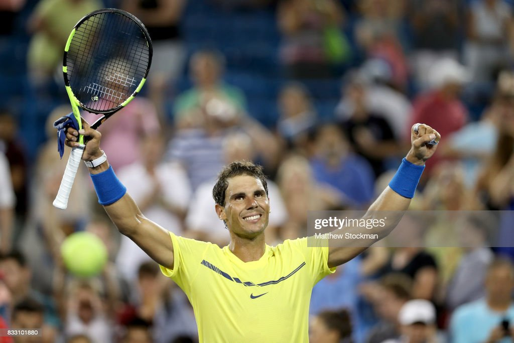 Rafael Nadal of Spain celebrates his win over Richard Gasquet of France during day 5 of the Western & Southern Open at the Lindner Family Tennis Center on August 16, 2017 in Mason, Ohio.